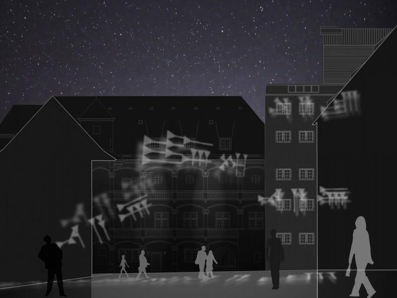 Außenwirkung im Schlosshof - Projektion von Keilschriften